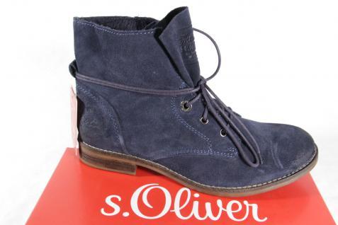 S.Oliver blau, Stiefel, Stiefelette, Stiefel, Velourleder, blau, S.Oliver gefüttert NEU a0722c