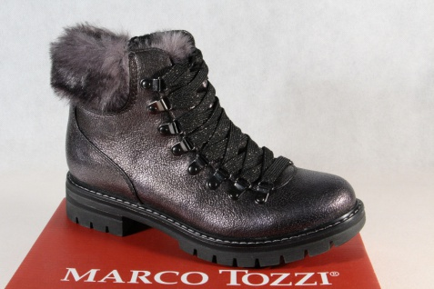 Marco Tozzi 26241 Damen Stiefel Stiefelette Boots Schnürstiefel grau NEU!