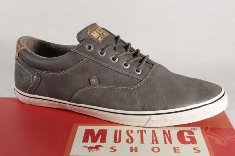 Mustang Herren Schnürschuhe Sneakers Halbschuhe, grau Gummisohle 4103 NEU