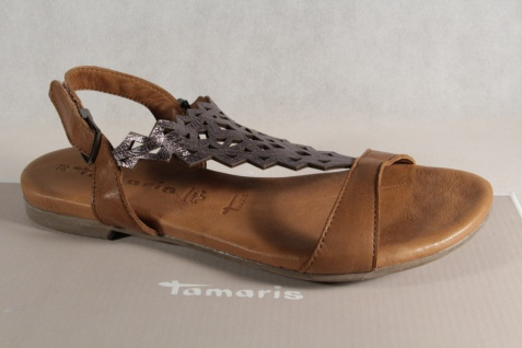 Damen Tamaris Sandale Sandalette grau Echtleder braun/ grau Sandalette NEU! 608b2d