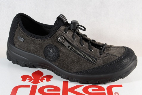 Rieker Damen Slipper Halbschuhe, Sneakers Tex Leder grau
