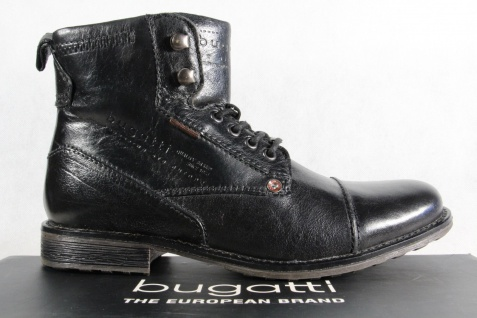Bugatti Herren Stiefel Stiefel NEU!! Schnürschuhe Schnürstiefel schwarz Leder NEU!! Stiefel 25d39b