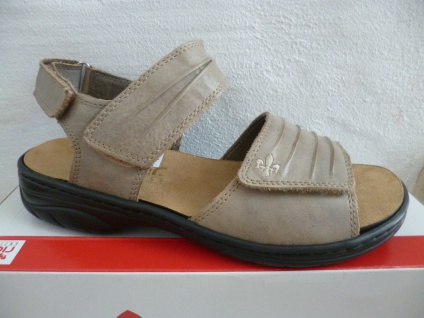 Rieker Damen Sandale 64560 Sandalette beige 64560 Sandale Leder NEU!! 116648