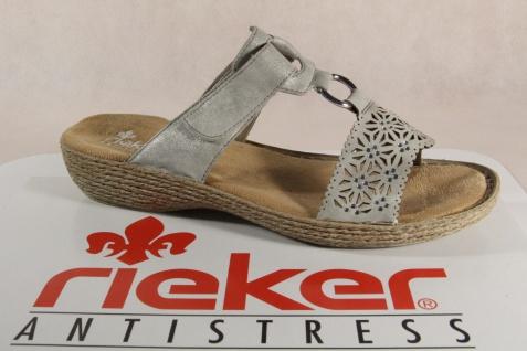 Rieker Damen Pantolette 65834 Sandalen, Sandaletten, grau Klettverschluß 65834 Pantolette NEU! c2d927