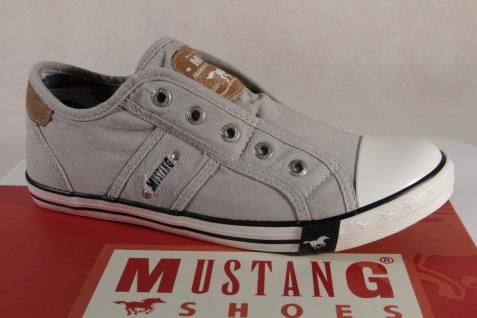 Mustang Slipper Sneakers Sportschuhe Halbschuhe hellgrau Leinen 1099 NEU