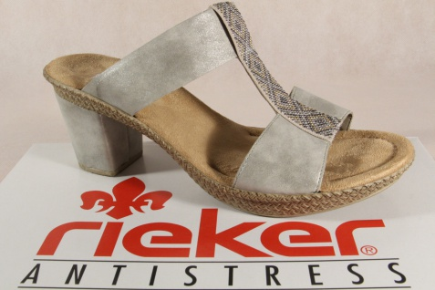 Rieker Damen Pantoletten Pantolette 66564 Sandale Slipper grau 66564 Pantolette NEU! 7b9aa6