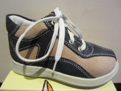 Trettal Stiefel Boots Lauflern-Stiefel blau/beige Leder NEU !!!
