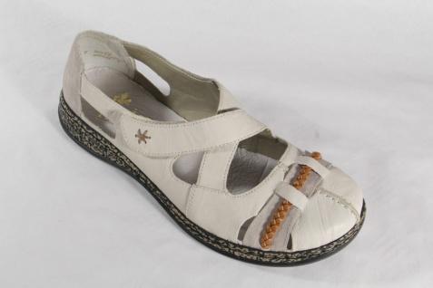 Rieker Damen Slipper mit weicher Lederinnensohle, beige/ braun, Echtleder NEU