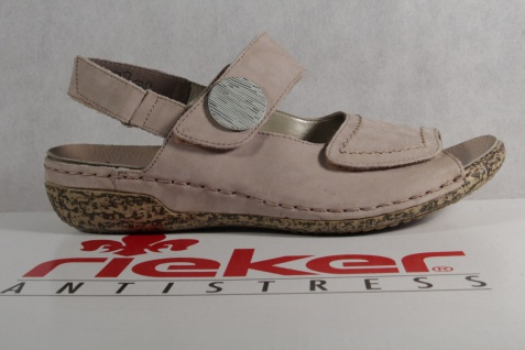 Rieker beige Damen Sandale Sandalette Sling beige Rieker Echtleder extra weit NEU!! Beliebte Schuhe ff136c