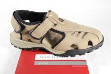 Marco Tozzi Herren Sandale Sandalette beige, Klettverschluss Leder NEU