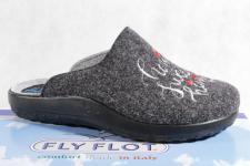 Fly Flot Damen Pantoffel Pantoletten Hausschuhe grau 863330 Neu!