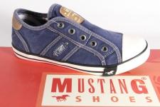 Mustang Leinen Slipper, Halbschuh Sneaker blau. Gummisohle 5803 NEU