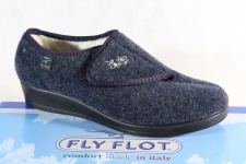 Fly Flot Damen Hausschuhe Pantoffel blau mit Klettverschluß Neu!