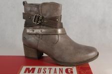 Mustang Damen Stiefel Stiefeletten Boots taupe/ braun leicht gefüttert 1197 NEU