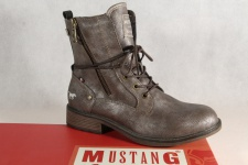 Mustang Stiefel Stiefeletten Schnürstiefel Boots braun metallic 1264 NEU!