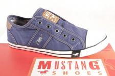 Mustang Slipper Sneakers Sportschuhe Halbschuhe blau Leinen 1099 NEU