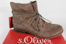 S.Oliver Stiefel, Stiefelette, Boots, Velourleder, braun, gefüttert NEU