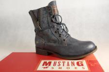 Mustang Stiefel Stiefeletten Schnürstiefel Boots blau/ grau 1139 NEU!