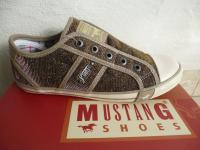 Mustang Slipper Sneakers Sportschuhe Halbschuhe gold Stoff Gummisohle NEU