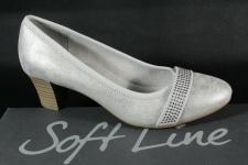 Soft Line by Jana Damen Pumps Slipper Ballerina weiss/ silber Weite H 22464 NEU!