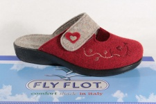 Fly Flot Damen Pantoffel Pantoletten Hausschuhe rot/ beige 863166 Neu!