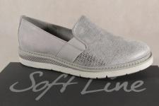 Jana Soft Line Damen Slipper Ballerina grau/silber Weite H 24565 NEU!