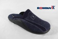 Romika Herren Pantoffel Hausschuhe mit Filz, blau, normale Form NEU!!