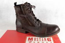 Mustang Stiefel Boots Schnürstiefel braun gefüttert, Echtleder NEU