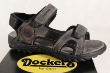Dockers Sandale grau, Klettverschluss, Echtleder weiche Innensohle NEU