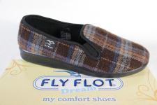 Fly Flot Herren Hausschuhe, Pantoffel, Slipper braun/ karo Stoff 880318 NEU!!
