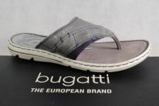 Bugatti Zehenstegpantolette Pantoletten grau Echtleder NEU!