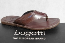 Bugatti Zehenstegpantolette Pantoletten braun Echtleder NEU!