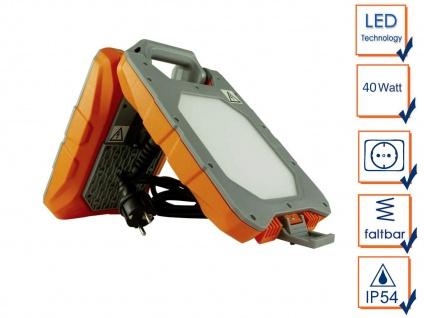 LED Baustrahler 40 Watt mit integrierter Steckdose, Arbeitsleuchte klappbar IP54