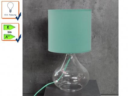 Design Tischleuchte Grün Glaskorpus Höhe 38 cm Stoffschirm Nachttischlampe