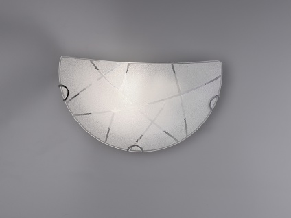Exklusive LED Wandleuchte 30x15cm Glasschirm in weiß mit dezenten Streifen