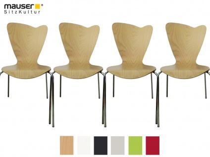4er Design Stuhl HEART buche Stapelstuhl Esszimmerstuhl Bistrostuhl Schalenstuhl