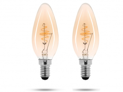 2x LED Leuchtmittel 3 Watt, 150 Lumen, 2000 Kelvin, E14-Sockel, Filament LED - Vorschau 2