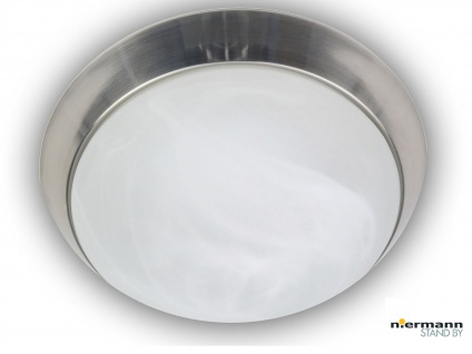 Deckenleuchte rund Alabasterglas, Dekorring Nickel matt Ø 35cm, Korridorleuchte