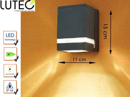 LED Außenwandleuchte Aluguss eckig IP44 H. 15cm Fassadenbeleuchtung Wandleuchte
