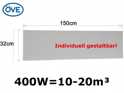 400W Infrarotheizung, 150x32 cm, für Räume 10-20m³, bemalbar, IP44