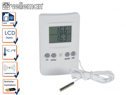 Digitalthermometer mit Außenfühler, Thermometer innen außen, Raumthermometer