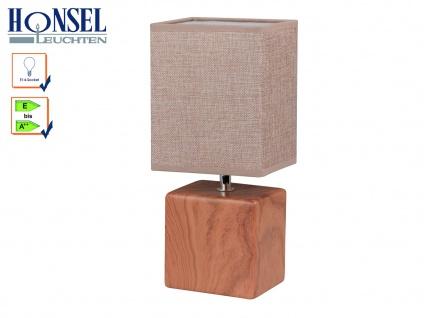 Tischleuchte LOG Schirm eckig Struktustoff beige Wohnzimmerlampe Honsel-Leuchten
