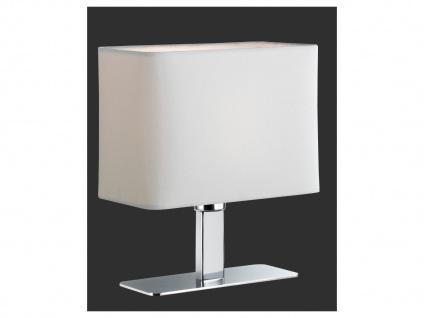 LED Tischleuchte in Chrom mit eckigem Stofflampenschirm in Weiß Wohnraumleuchten - Vorschau 2