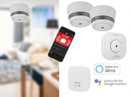 App gesteuertes Smarthome Sicherheitsset: 2 MINI Rauchmelder + CO Melder + Basis