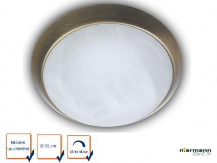 LED Deckenleuchte rund Ø35cm Alabasterglas Zierring Altmessing LED Bürolampe