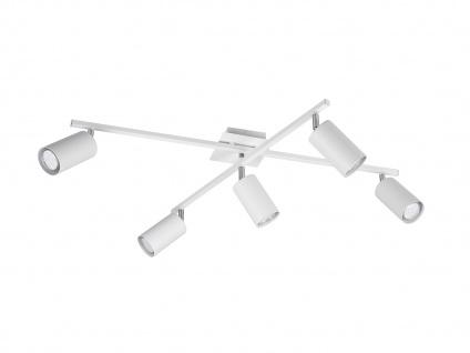 Deckenstrahler mit 5 Spots für Wohnzimmer, Schlafzimmer & Küche aus weißem Metall