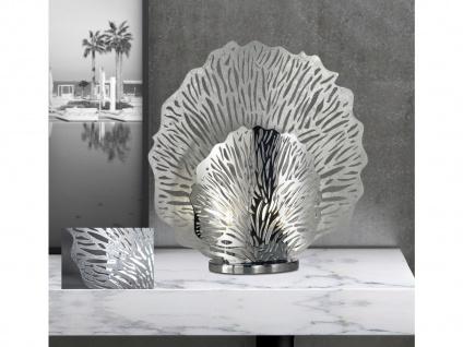 Kleine LED Tischleuchte silberfarben, Tischlampe für Beleuchtung Flur & Wohnraum