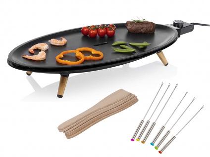 Ovaler DESIGN XL Teppanyaki Japanischer Elektrogrill Tischgrill mit 6 Gabeln