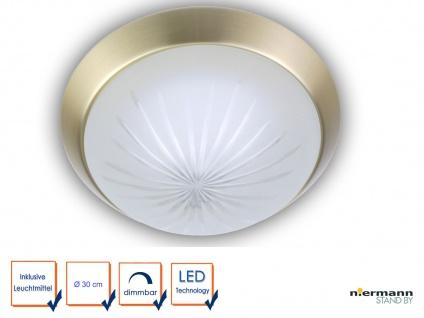 LED Leuchte rund Ø30cm Korridorleuchte Schlafzimmerlampe Dekorring Messing matt