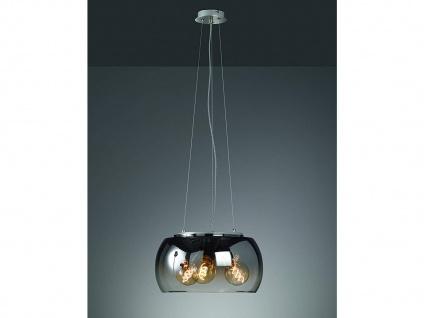 Dimmbare LED Pendelleuchte dreiflammig Rauchglas Schirm Kugel - Esszimmerleuchte